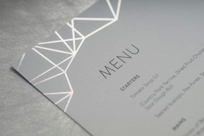 Geometric Menu | Silver Foil Wedding Menu on Feather Grey Card | Wedding Menu Cards by the Foil Invite Company