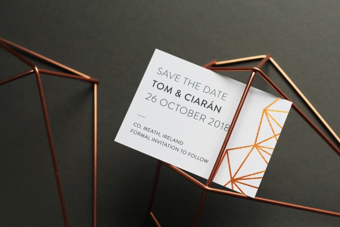 Geometric Save the Date Cards | Copper Foil Save the Dates on White Card | Save the Date Wedding Cards and Magnets by the Foil Invite Company