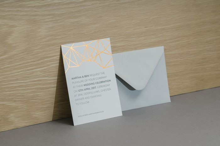 Geometric Wedding Invitations in Copper | Copper Foil Wedding Invitations | Geometric Wedding Stationery Ideas | Wedding Invitation Envelopes | Contemporary Wedding Invitations by the Foil Invite Company