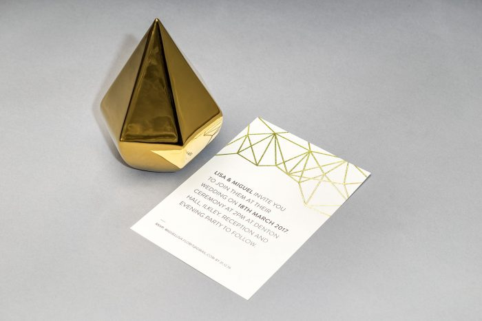 Geometric Wedding Invitation in Gold Foil | White and Gold Wedding Invitations | Geometric Wedding Stationery | Geometric Wedding Theme | Luxury Wedding Stationery by the Foil Invite Company