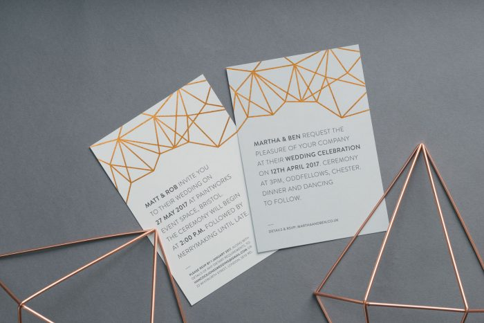 Geometric Wedding Invitations in Copper | Copper Foil Wedding Invitations | Geometric Wedding Stationery Ideas | Modern Wedding Invitations by the Foil Invite Company