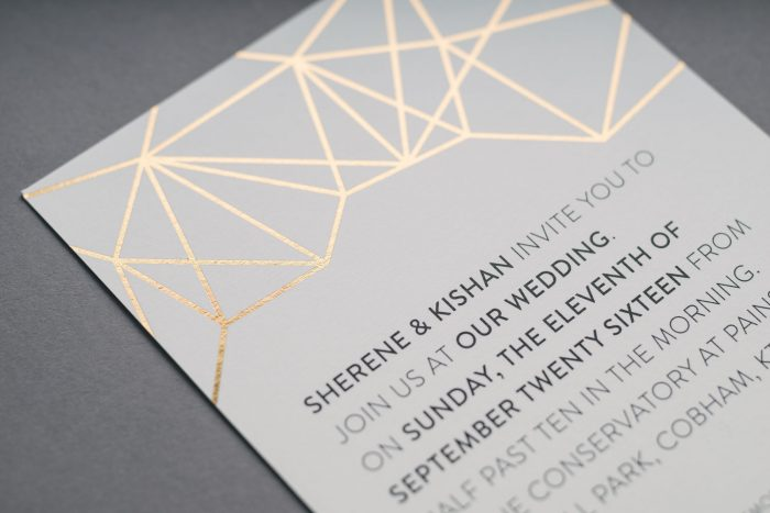 Geometric Wedding Invitations - Gold Foil | Gold Foil Wedding Invitations | White and Gold Wedding Invitations | Geometric Wedding Trend | Luxury Wedding Stationery by the Foil Invite Company