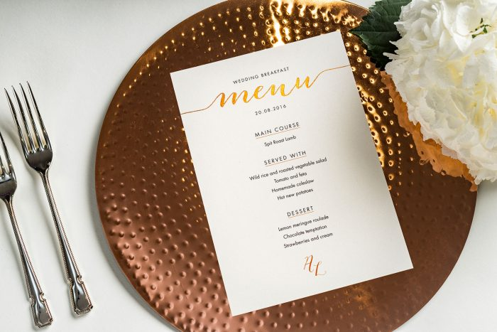 Louise Menu | Copper Foil Wedding Menu on Pearl Card | Wedding Menu Cards by the Foil Invite Company