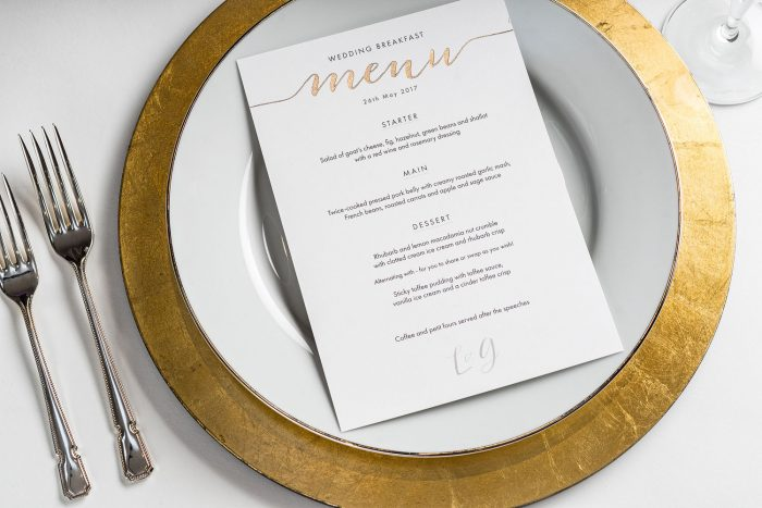 Louise Menu | Gold Foil Wedding Menu on White Card | Wedding Menu Cards by the Foil Invite Company
