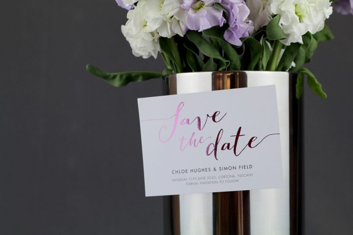 Louise Save the Date Magnets | Blossom Foil Save the Dates on White Magnet | Foil Wedding Stationery | Save the Date Wedding Cards and Magnets by the Foil Invite Company