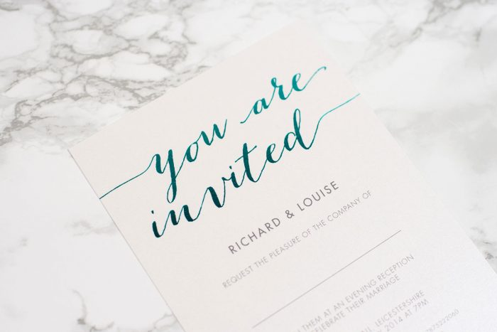 Foil Wedding Invitations - Louise in Teal Foil | Colourful Foil Wedding Stationery | Luxury Wedding Invitations by the Foil Invite Company