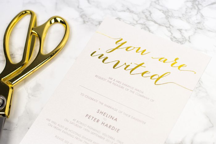 Gold Foil Wedding Invitations - Louise | Gold Foil Wedding Stationery | White and Gold Wedding Invitations | Luxury Wedding Stationery by the Foil Invite Company