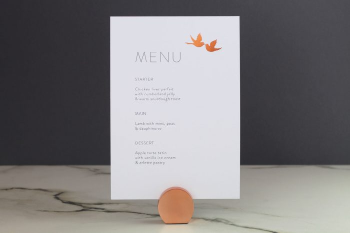 Love Birds Menu | Copper Foil Wedding Menu on White Card | Wedding Menu Cards by the Foil Invite Company