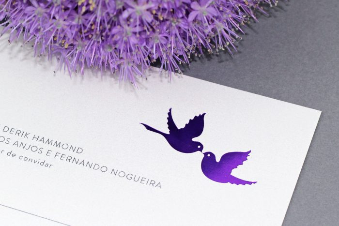 Love Birds Wedding Invitations - Purple Foil | Purple Wedding Stationery | Foil Wedding Invitations by the Foil Invite Company