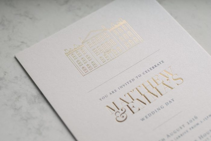 Bespoke Wedding Invitations - Modern Venue Illustrations | Gold Foil Wedding Stationery | White and Gold Wedding Invitations | Bespoke Wedding Stationery by the Foil Invite Company