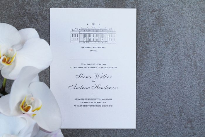 Bespoke Wedding Invitations - Modern Venue Illustration of Balbirnie House | Silver Foil Wedding Stationery | Silver Wedding Invitations | Silver and White Wedding Invitations | Balbirnie House Wedding Venue | Bespoke Wedding Invitations by the Foil Invite Company