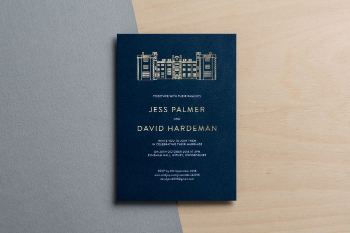 Bespoke Wedding Invitations - Modern Venue Illustration of Eynsham Hall | Gold Foil Wedding Stationery | Navy Wedding Invitations with Gold Foil | Bespoke Wedding Invitations by the Foil Invite Company