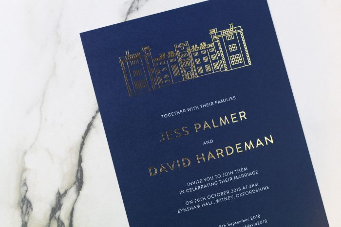 Bespoke Wedding Invitations - Modern Venue Illustration of Eynsham Hall | Gold Foil Wedding Stationery | Unique Wedding Stationery Ideas | Navy Wedding Invitations with Gold Foil | Bespoke Wedding Invitations by the Foil Invite Company