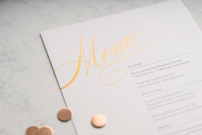 Pemberley Menu | Copper Foil Wedding Menu on Pearl Card | Luxury Wedding Menu Cards by the Foil Invite Company
