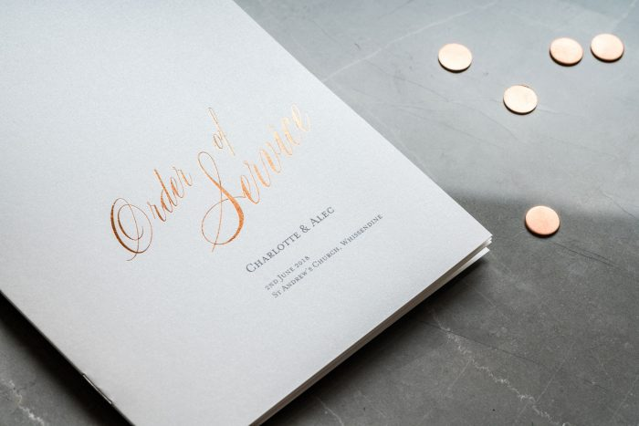 Pemberley Order of Service | Copper Foil Wedding Order of Service on Pearl Card | Wedding Order of Service Cards by the Foil Invite Company