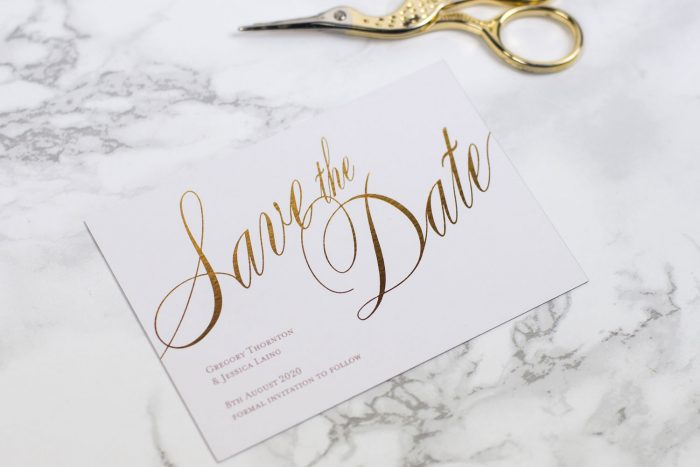 Pemberley Save the Date Cards | Gold Foil Save the Dates on White Card | Gold and White Wedding Stationery | Save the Date Wedding Cards and Magnets by the Foil Invite Company