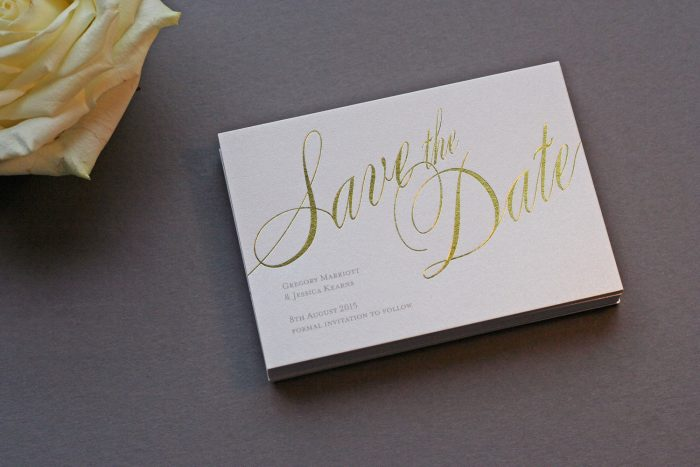 Pemberley Save the Date Cards | Gold Foil Save the Dates on Pearl Card | Save the Date Wedding Cards and Magnets by the Foil Invite Company