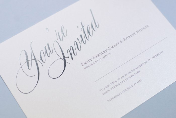 Foil Wedding Invitations - Pemberley In Silver | Elegant Wedding Stationery | Silver Wedding Colour Scheme | Foil Wedding Invitations by the Foil Invite Company