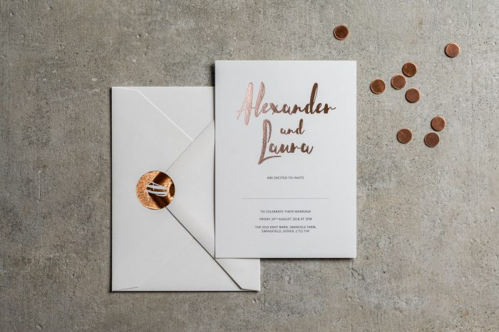 Personalised Wedding Stickers - Rockwell Collection | Bespoke Wedding Stickers | Rose Gold Foil Wedding Stickers | Luxury Wedding Stationery by the Foil Invite Company
