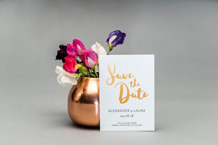 Rockwell Save the Date Cards | Copper Foil Save the Dates on Pearl Card | Save the Date Wedding Cards and Magnets by the Foil Invite Company
