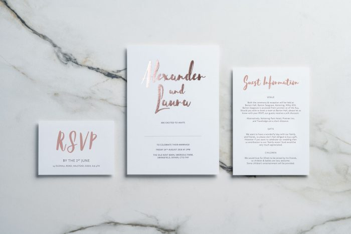 Rose Gold Wedding Stationery Set - Rockwell Collection | Rose Gold Foil Wedding Invitations | Modern Luxe Wedding Invitations by the Foil Invite Company