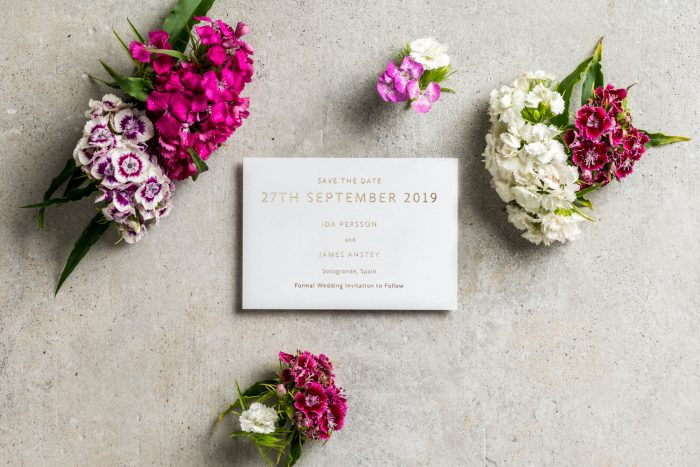 Sarto Serif Save the Date Cards | Gold Foil Save the Dates on White Card | Gold and White Wedding Stationery | Save the Date Wedding Cards and Magnets by the Foil Invite Company