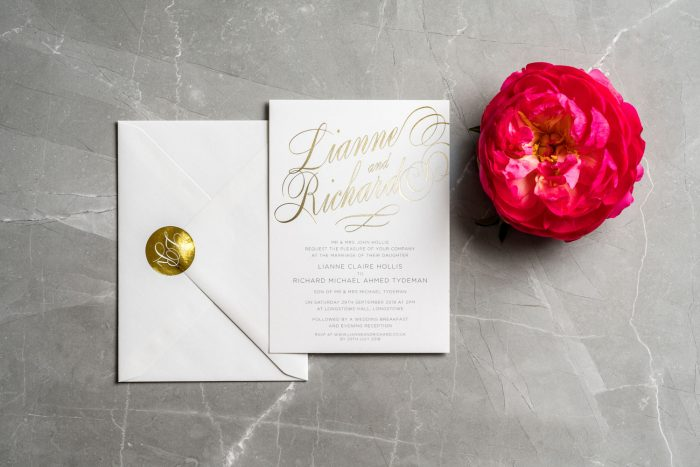 Elegant Wedding Stationery Set - Script Collection | White and Gold Wedding Invitations | Gold Foil Wedding Stickers | Luxury Wedding Invitations by the Foil Invite Company