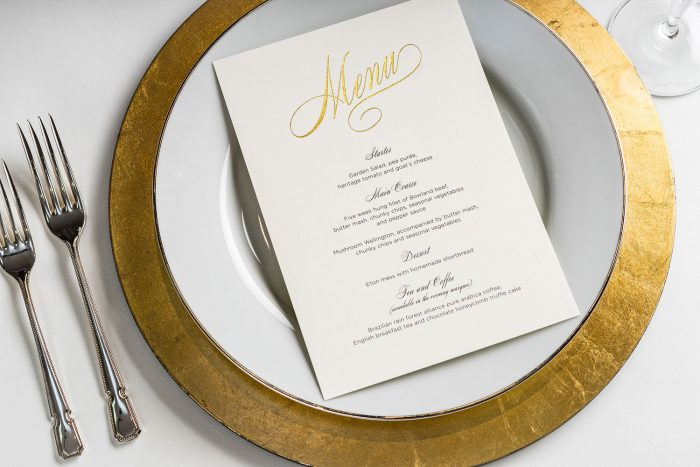 Script Menu | Gold Foil Wedding Menus on Pearl Card | Wedding Menus | Wedding Menu Cards by the Foil Invite Company
