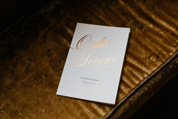 Script Order of Service | Elegant Copper Foil Wedding Order of Service on Pearl Card | Wedding Order of Service Cards by the Foil Invite Company