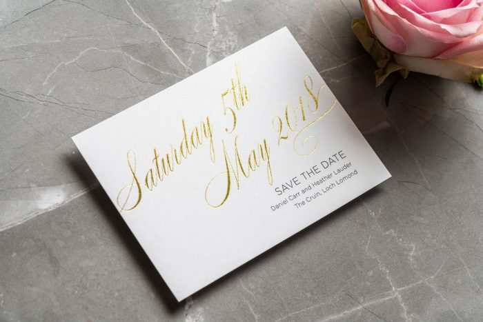 Script Save the Date Cards | Gold Foil Save the Dates on White Card | Gold and White Wedding Stationery | Save the Date Wedding Cards and Magnets by the Foil Invite Company
