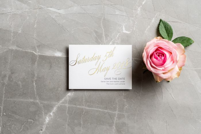 Script Save the Date Cards | Gold Foil Save the Dates on White Card | Luxury Gold and White Wedding Stationery | Save the Date Wedding Cards and Magnets by the Foil Invite Company