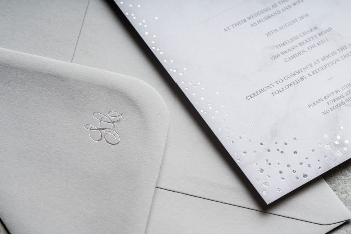 Silver Wedding Stationery Set - Sparkle Collection | Silver Foil Wedding Invitations | Silver Foil Wedding Invitation Envelopes | Silver Wedding Invitations | Luxury Wedding Invitations by the Foil Invite Company