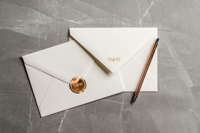 Wedding Invitation Envelopes | Personalised Wedding Stickers | Foil Printed Wedding Envelopes | Copper Foil Wedding Stickers | Luxury Wedding Stationery by the Foil Invite Company