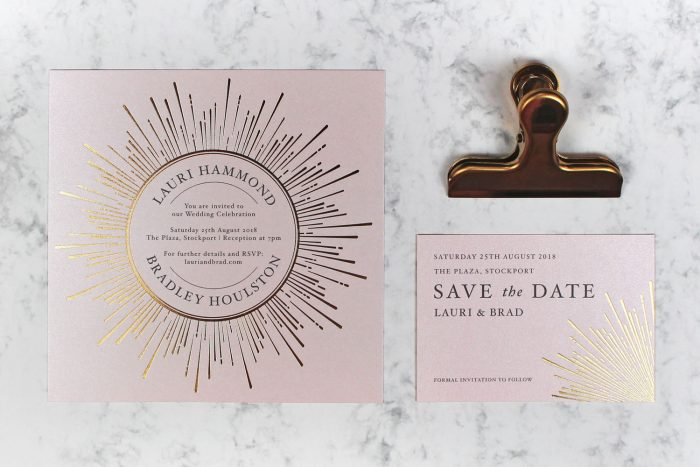 Foil Wedding Stationery Set - Sunburst Collection | Gold and Blush Wedding Invitations | Gold Foil Wedding Invitations | Gold Foil on Blush Card | Gold Foil Wedding Save the Dates | Luxury Wedding Invitations by the Foil Invite Company