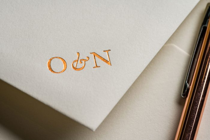 Wedding Invitations Envelopes - Sunburst | Copper Foil Monogram | Foil Wedding Envelopes | Sunburst Foiled Envelope Copper Foil | Luxury Wedding Stationery by The Foil Invite Company