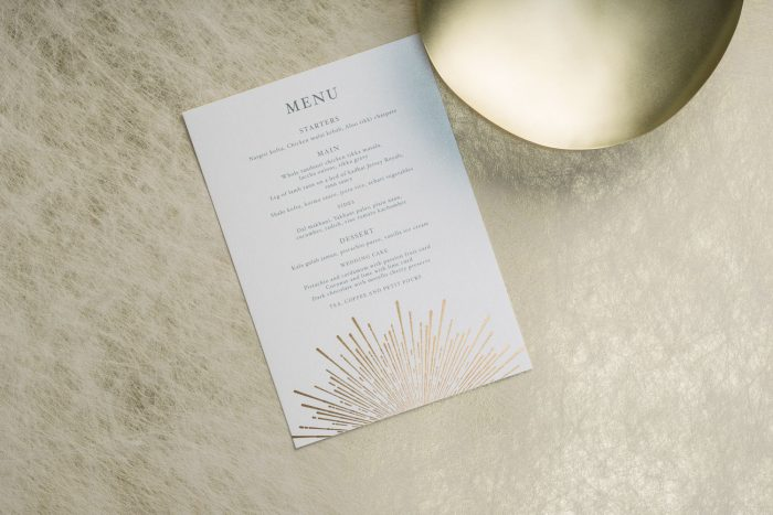 Sunburst Menu | Gold Foil Wedding Menu on Pearl Card | Wedding Menu Cards by the Foil Invite Company