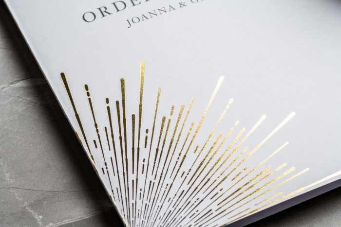 Sunburst Order of Service | Gold Foil Wedding Order of Service on White Card | Gold and White Wedding Stationery by the Foil Invite Company