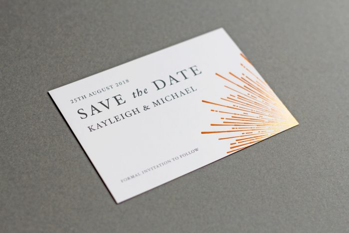 Sunburst Save the Date Cards | Copper Foil Save the Dates on White Card | Save the Date Wedding Cards and Magnets by the Foil Invite Company