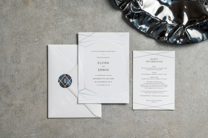 Geometric Wedding Stationery Set - Terrarium Collection | Silver Foil Wedding Invitations | Personalised Wedding Stickers | Contemporary Wedding Invitations by the Foil Invite Company