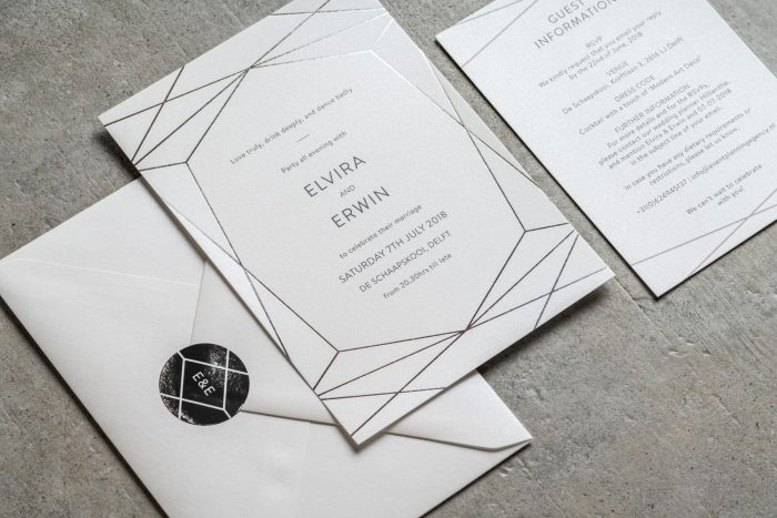 Geometric Wedding Stationery Set - Terrarium Collection | Silver Foil Wedding Invitations | Silver Foil Wedding Stickers | Modern Wedding Invitations by the Foil Invite Company