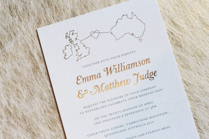 Bespoke Wedding Invitations - Destination Wedding Design | Australia and UK Bespoke Wedding Invitations | Gold Foil Wedding Stationery | Bespoke Wedding Invitations by the Foil Invite Company
