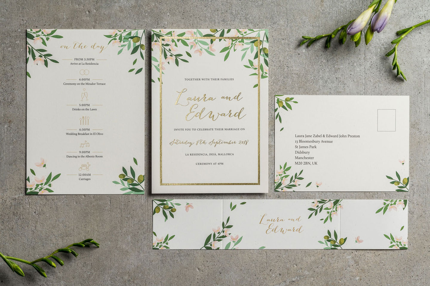 Foil Wedding Invitations - Choose Your Own Flowers Wedding Invitations - Autumn Flowers - Fall Wedding - Autumn Wedding Ideas - Luxury Wedding Stationery by the Foil Invite Company