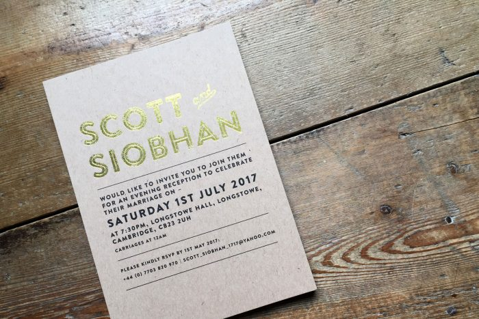 Bespoke Wedding Invitations - Kraft Card | Gold Foil Wedding Stationery | Rustic Wedding Ideas | Bespoke Wedding Invitations by the Foil Invite Company