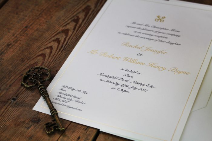 Bespoke Wedding Invitations - Gold Foil Cross Keys Emblem | Gold Foil Wedding Stationery | Bespoke Wedding Invitations by the Foil Invite Company