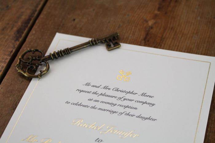 Bespoke Wedding Invitations - Cross Keys Design in Gold Foil | Gold Foil Wedding Stationery | Bespoke Wedding Invitations by the Foil Invite Company