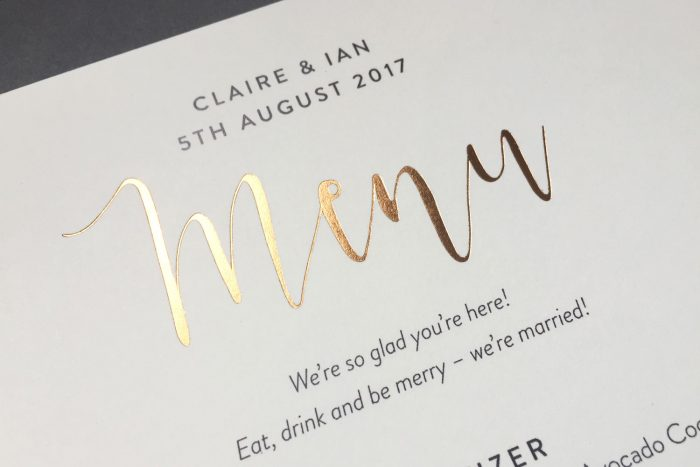 Bespoke Wedding Menu | Gold Foil Wedding Menus on Ivory Card | Wedding Menu Cards by the Foil Invite Company