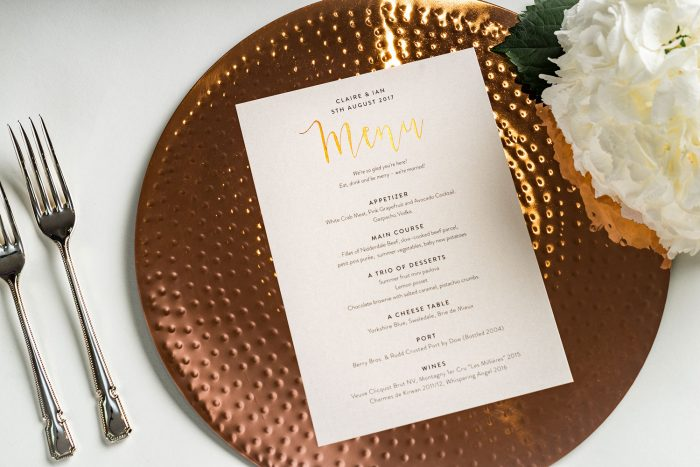 Bespoke Wedding Menus | Gold Foil Wedding Menus on Ivory Card | Wedding Menu Cards by the Foil Invite Company