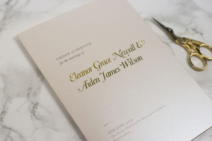 Bespoke Wedding Order of Service - Elegance | Elegant Wedding Order of Service Cards | Gold Foil Wedding Order of Service Cards | Luxe Wedding Stationery by the Foil Invite Company