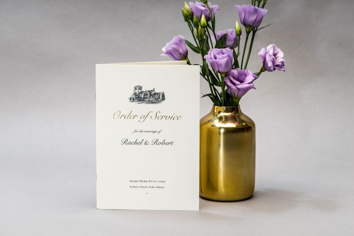 Bespoke Wedding Order of Service | Church Illustration | Gold Foil Wedding Order of Service Cards | Luxe Wedding Stationery by the Foil Invite Company