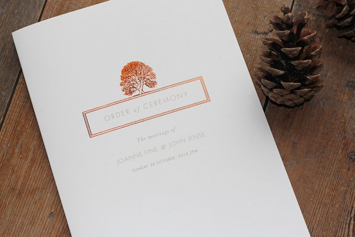 Bespoke Wedding Order of Service | Oak Tree Illustration | Copper Foil Wedding Order of Service Cards | Autumn Wedding Ideas | Luxury Wedding Stationery by the Foil Invite Company